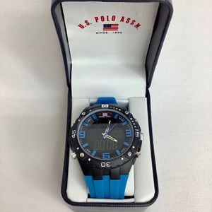 U.S. Polo Assn Sport Black Watch Silicone Band